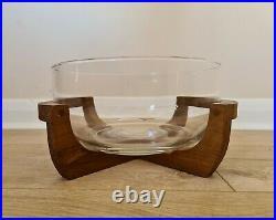 Mid Century Teak And Glass Salad Bowl 1960s 1970s Retro Kitchenalia