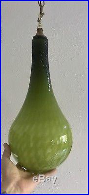 Mid Century VTG Murano GREEN cased Glass Pendant Swag Lamp Light TEARDROP