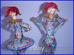 Mid-Century Venetian Glass Harlequin Jester Figurines -Formia Vetri di Murano
