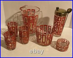 Mid-Century Vintage 11-Pc Bar Set Red Drinking Glass Ashtray Shaker Bowl Pitcher