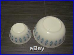 Mid Century Vintage Pyrex Atomic EYES Mixing Bowls Set of 2 WHITE/TURQUOISE