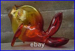 Mid Century Vtg BLENKO Amberina Tangerine Art Glass Fish Vase FREE US SHIPPING