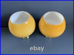 Mid Century Wall Lights brushed gold with Amber glass shades 1 x pair
