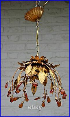 Mid century 1960 French chandelier pendant maison jansen era Amber glass drops