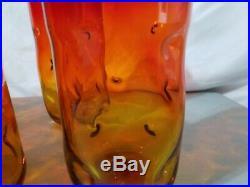 Mid century Blenko Hand Blown glass dimple Tumblers