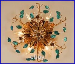 Mid century Hollywood Regency Italian ceiling lamp fixture venice glass gilt 70s