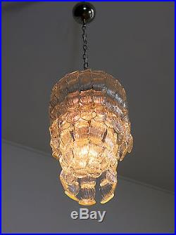 Mid century Italian vintage Murano chandelier in Venini style 27 glasses