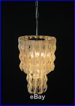 Mid century Italian vintage Murano chandelier in Venini style 27 lattimo glass