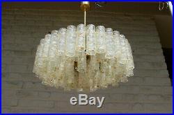 Mid century LARGE Murano glass tubes levels Chandelier pendant DORIA 1960s