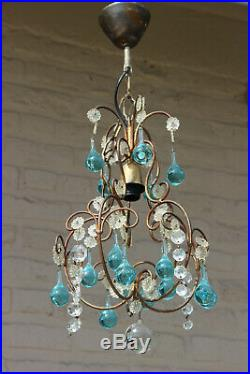 Mid century MURANO turquoise glass drops chandelier 1970 pendant light