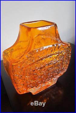 Mid-century Modern Whitefriars Tangerine Tv Vase Geoffrey Baxter