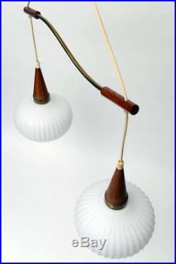 Mid century Retro Louis KALFF Teak wood pendant chandelier 2 opaline glass globe