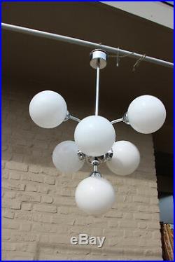 Mid century Retro sputnik 7 opaline glass globes balls atomic chandelier pendant