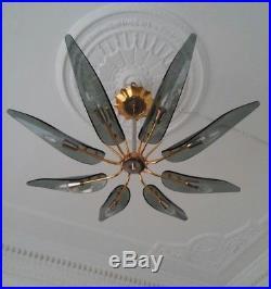 Mid century glass chandelier lamp dahlia max ingrand fontana arte style