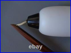 Mid century modern Dutch wall lamp teak & glass