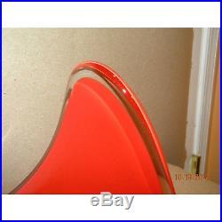 Mid century modern ELLIPTICAL Tear Drop Bowl flame red-orange ART GLASS signed