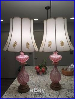Mid century table lamps Pink Murano Art Glass Lamp with Silver Flecks