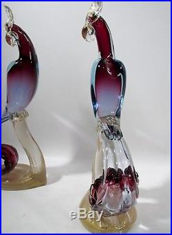Midcentury ALFREDO BARBINI Italian Murano Glass Pair Bird Of Paradise Figurines
