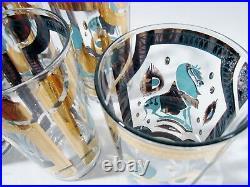 Midcentury FRED PRESS Hollywood Regency Blue TROJAN HORSE 6 High Ball Tumblers