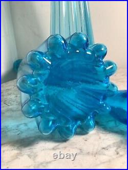 Midcentury Italian Blue Genie Empoli 28 Tall Bottle Decanter with Flame Stopper