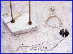 Midcentury Italian Floor Lamp 1950s Modernist Vintage Opaline Glass Brass Marble