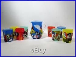 Midcentury MURANO Italian Art Glass Pitcher & 8 Tumblers Dino Martens Style