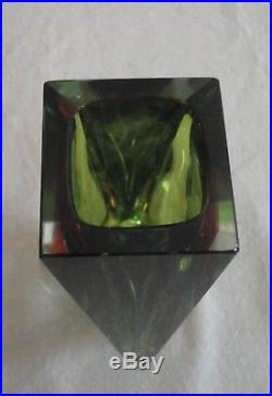Midcentury Modern Murano Mandruzzato Faceted Sommerso Green Gold Glass 8 Vase