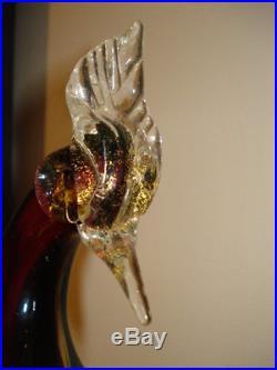 Midcentury Murano Glass Pair Bird Of Paradise Figurines Alfredo Barbini Italy