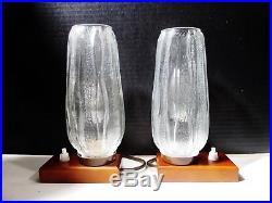 Midcentury Pair German KALMAR Ice Crystal Glass Accent Boudoir Lamps
