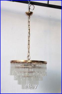 Midcentury glass chandelier 1950s Sciolari design slats gold brass