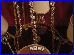 Midcentury ruby glass and crystal beading and prisms diminutive chandelier