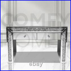 Mirrored Crushed Crystal Dressing Table 2 drawer FREE DELIVERY AVAILABLE