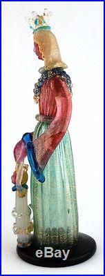Murano Art Glass Ercole Barovier Toso Queen Princess Figurine Label Mid Century