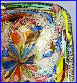 Murano Avem Tutti Frutti Zanfirico Latticino Art Glass Bowl Vintage MID Century