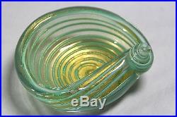 Murano Bowl 4 Vintage Mid-century Seguso Barbini Lot's Of Gold Green Gold Swirl