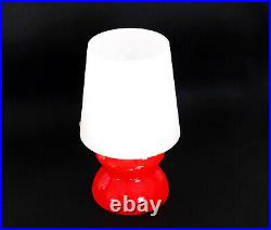 Murano Glass Table Lamp 1960s 70s Italy Orange White Mazzega Mid Century Vintage