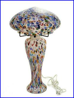 Murano Italian Millefiori Art Glass Table Lamp, Mid Century