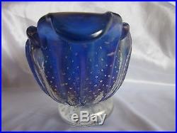 Murano Mid Century Barovier- Toso Bullicante Blue Art Glass Bowl