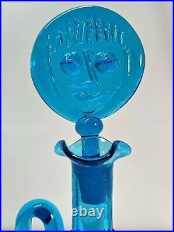 Myers Turquoise Blue Lollipop Head Blenko Glass Decanter. Mid Century Modern