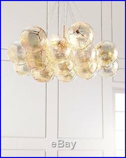NEW Horchow XL Mid Century Modern Chandelier Glass Orb Balls Gold $2195
