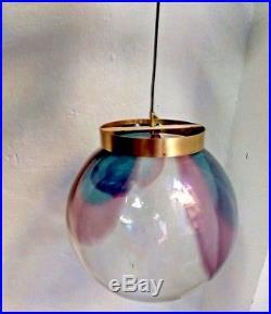 NOS Large Mid-Century Murano Glass Globe Mazzega Italian Pendant lamp 14in/35cm