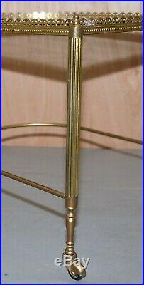 Nest Of Three Brass & Glass Trolley Tables By Maison Bagues France MID Century