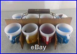 New Unused Federal Fire King GLAMALITE Glitter Mugs Set 8 w Caddy Mid Century
