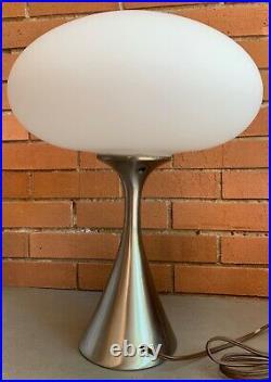 Nice Vintage Laurel Mushroom Lamp Chrome Metal Base Mid Century Modern 60s 70s