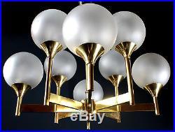 Organic 8 Frosted Glass Globes Brass Sputnik Chandelier Vintage 70s MID Century