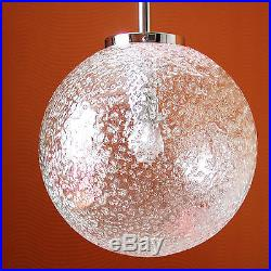 Old Vintage Pendant Hanging Lamp Thick Ice Glass Globe Chrome Mid-Century Modern