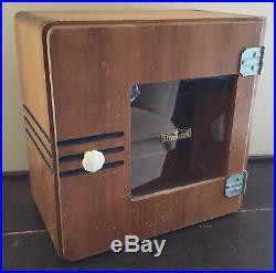 Old Vtg MID Century Barber Medical Serilizer Cabinet Cupboard Wood Glass Shelves
