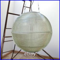 Original Mid-Century Parisian Holophane Glass Globe Pendant (50cm)