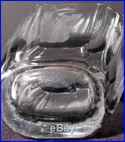Orrefors Art Deco Etched Crystal Glass Vase Mid Century Sven Palmqvist Sculptor