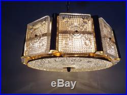 Orrefors crystal glass chandelier pendant flush light mid century ceiling lamp